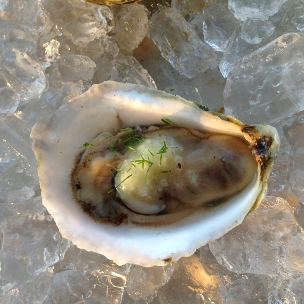 Simon Edwardes' Nantucket Blonde oyster with shaved fennel, lemon and basil oil